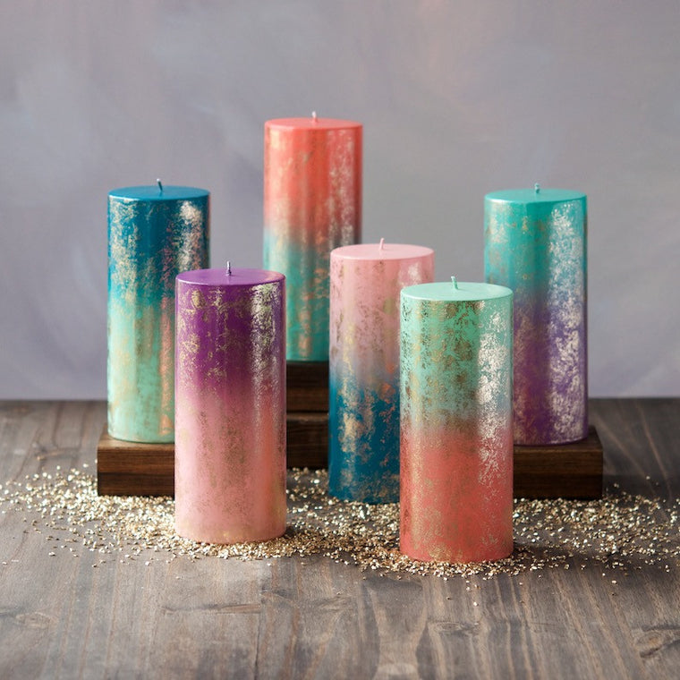 Ombre & Gold Pillar Candle, Set of 6