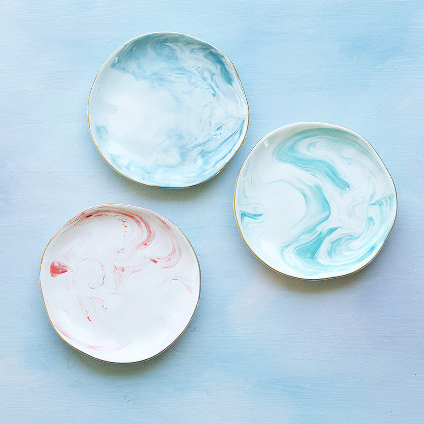 Marbled Plates, Set of 6