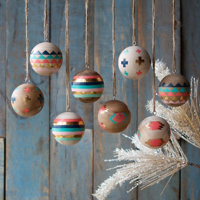 Large Wood Ball Ornament, Set of 8