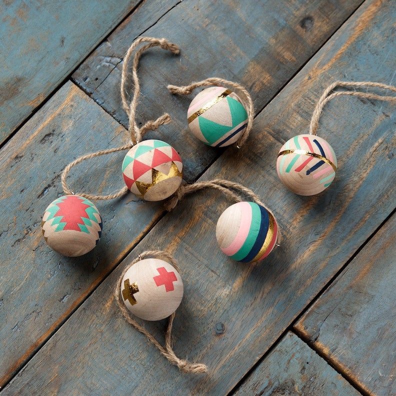 Small Wood Ball Ornament, Set of 6