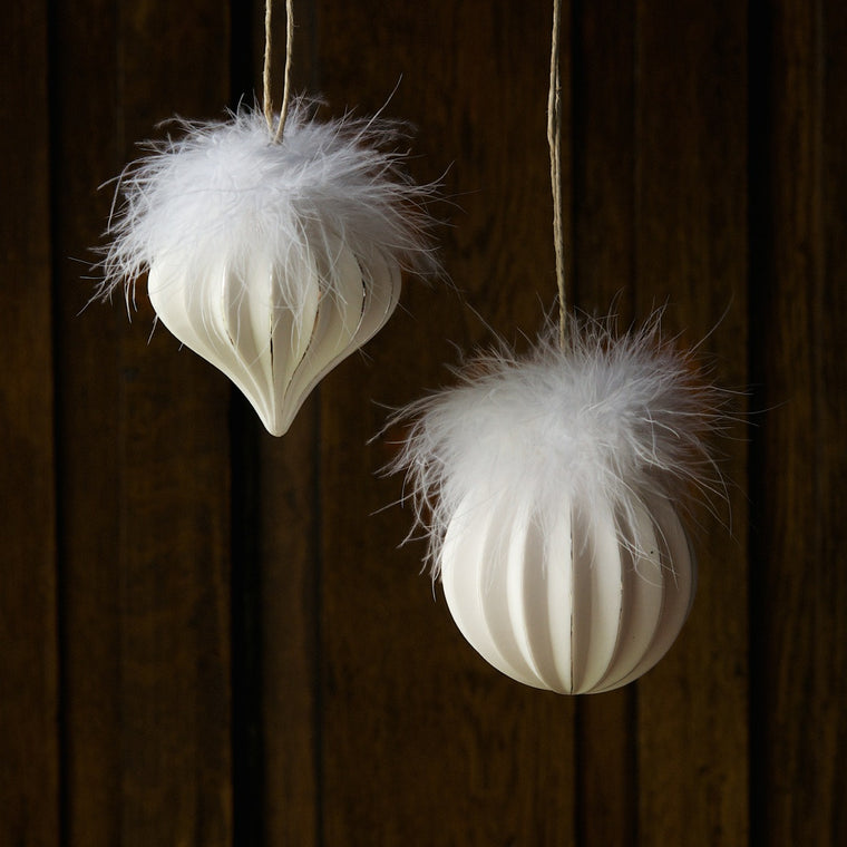 Feather Pleated Glass Ornament