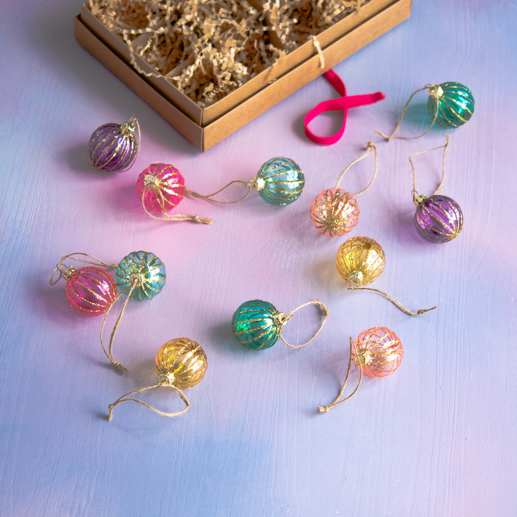 Box of Showy Sphere Ornament, Set of 12