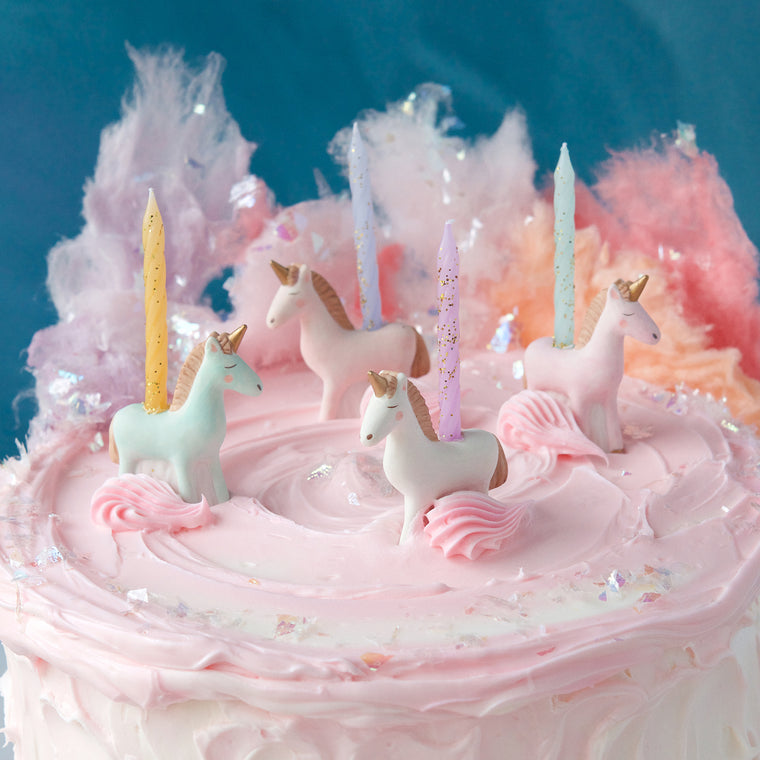 Unicorn Party Candle Holders, Set of 4