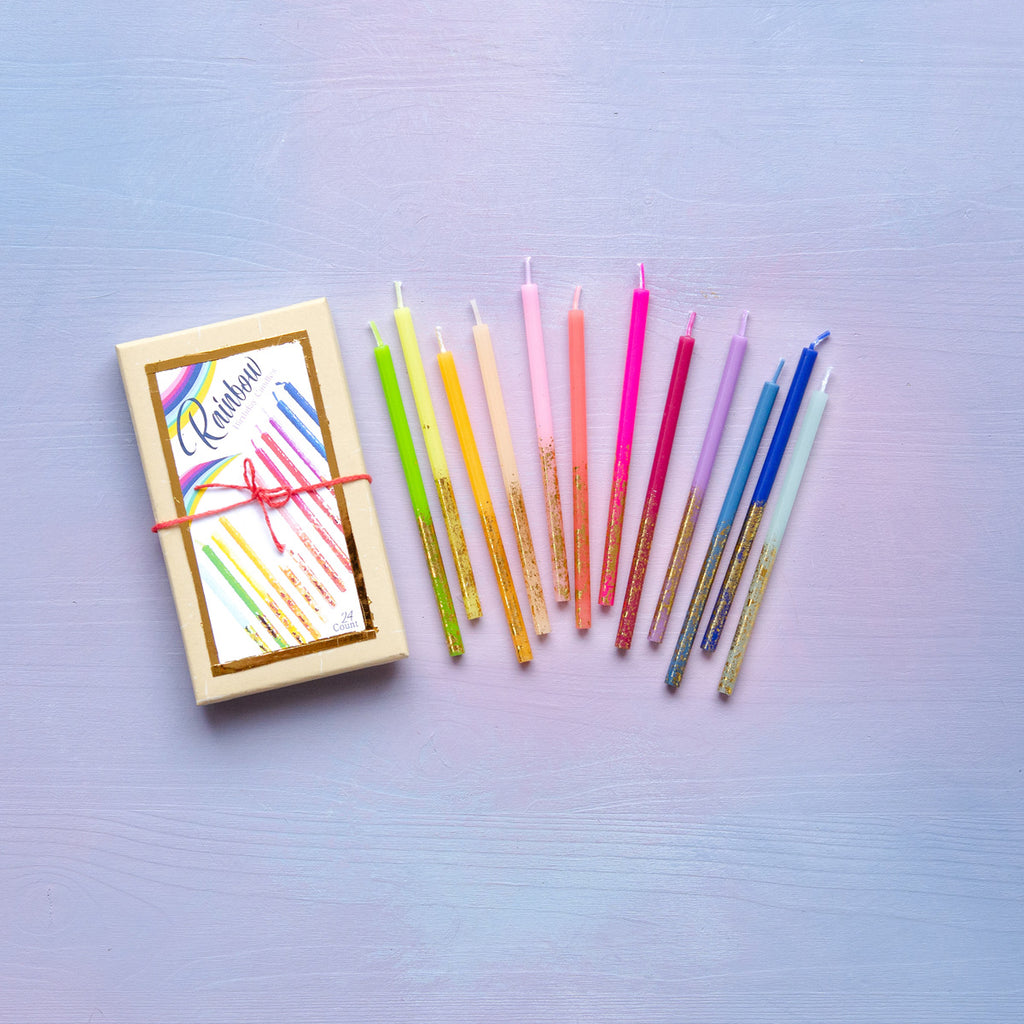Rainbow Birthday Candles, Set of 24