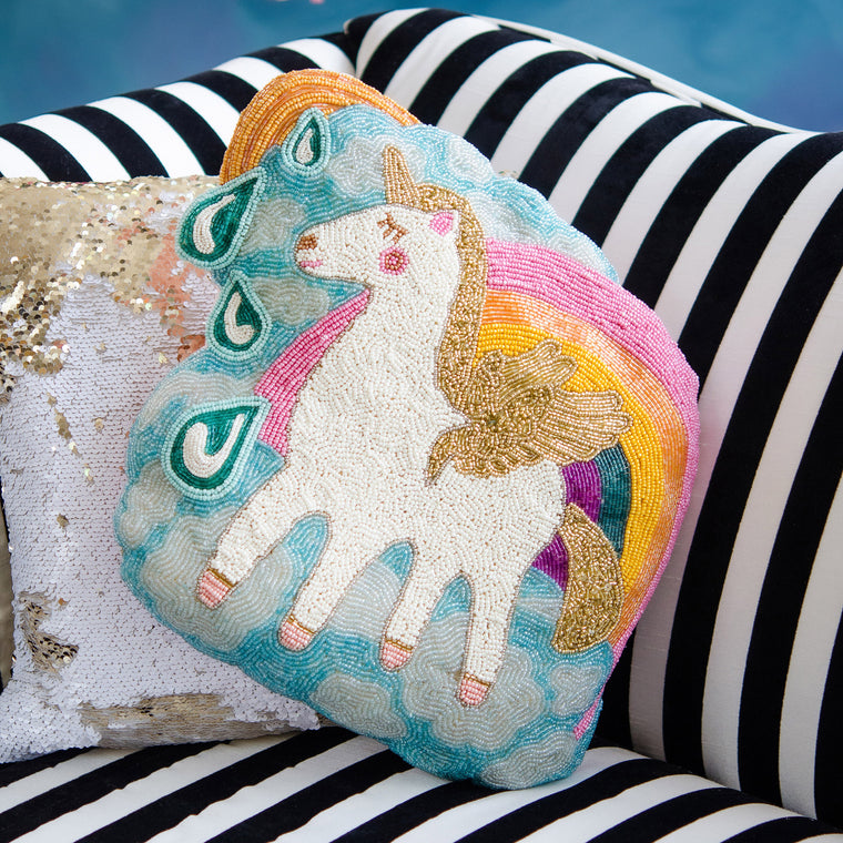 Unicorn Beaded Pillow
