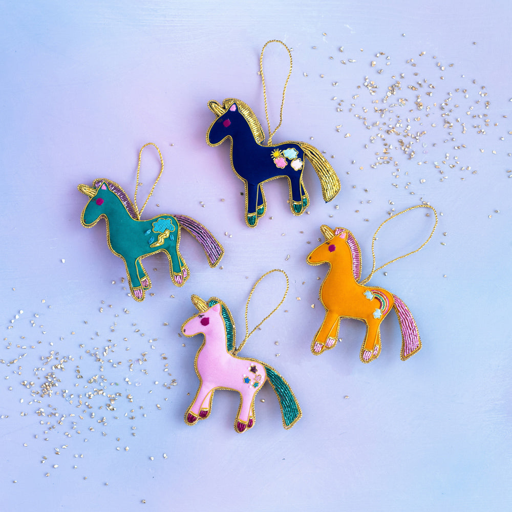 Beady Embellished Unicorn & Friends Ornament
