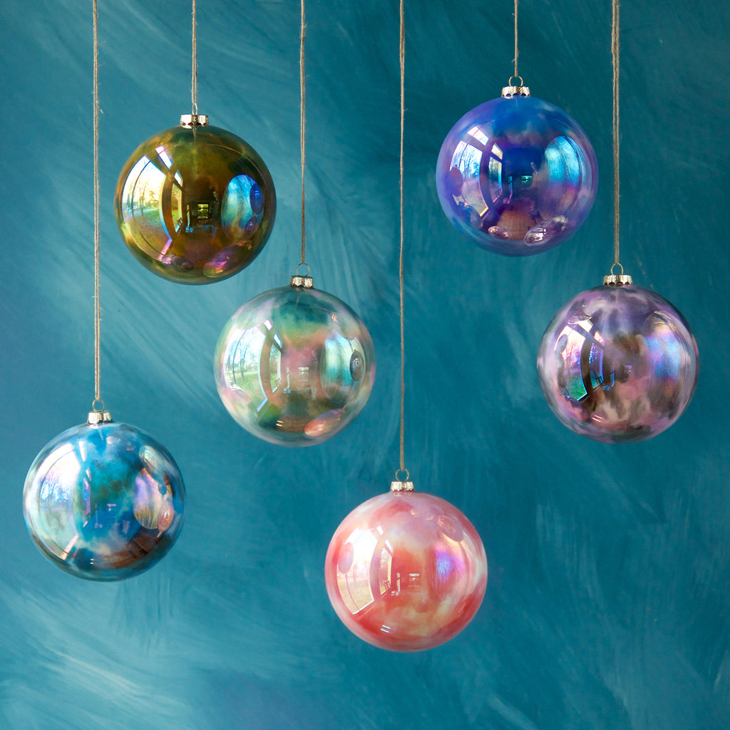 Mirrored Marble Ornament (6 Assortment)