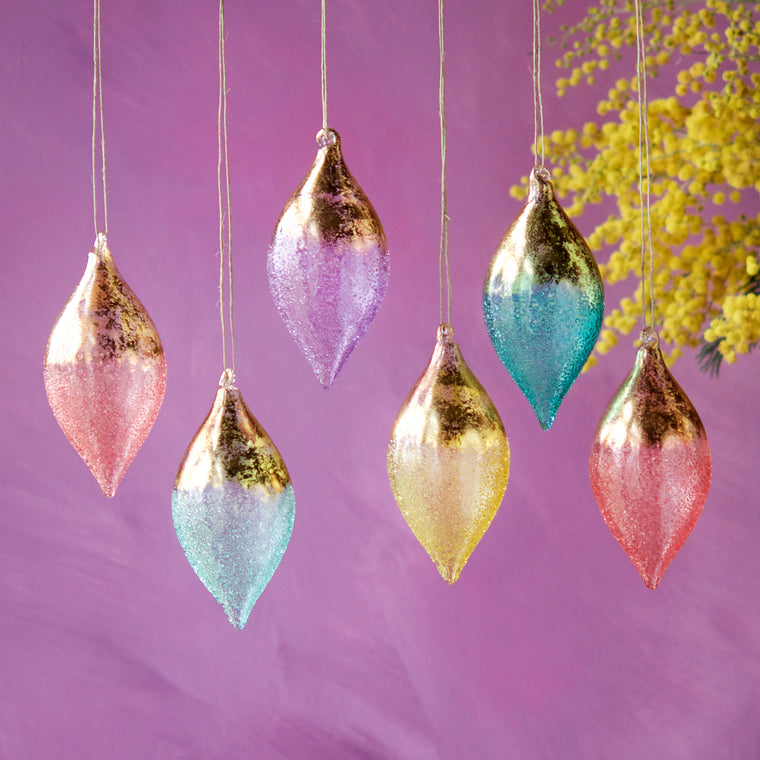 Stubbled Gold Leaf Ornament (6 Assortment)