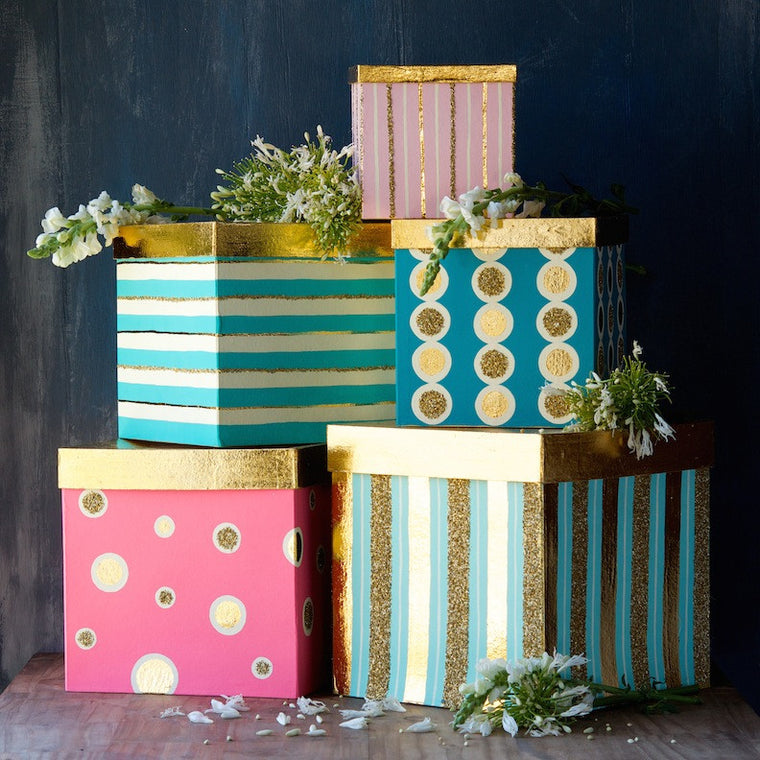 Gilded Gift Boxes, Set of 5