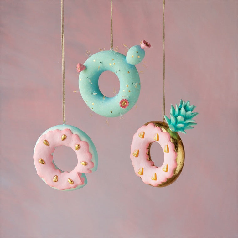 Cactus, Pineapple & Watermelon Donut Ornament