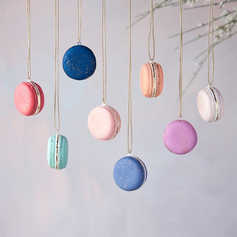 Gold Dust Macaron Ornament, Set of 8