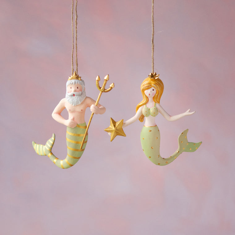 Mermaid & Neptune Ornament