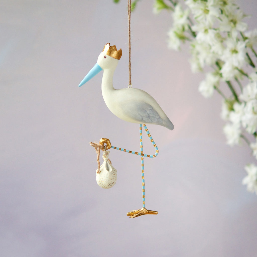 Royal Stork Ornament, Blue