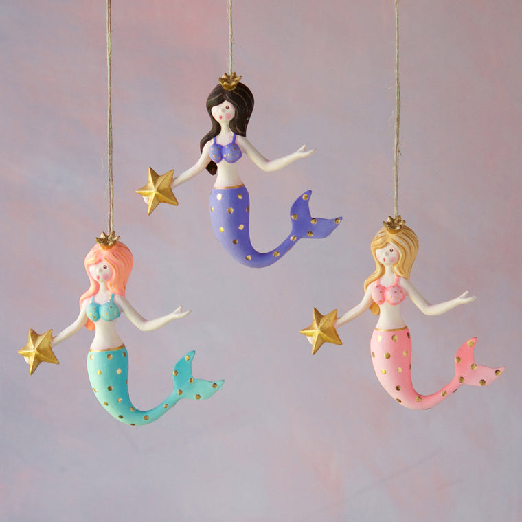 Colorful Mermaid Ornament (3 Assortment)