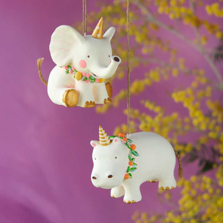 Pongo the Hippo and Bongo the Elephant Ornament (2 Assortment)