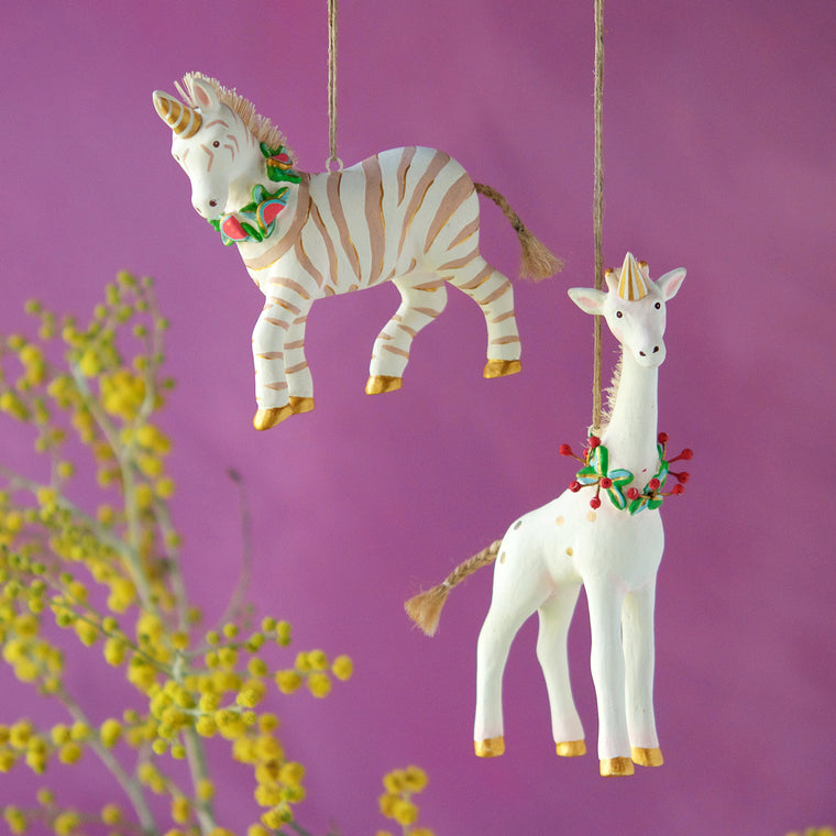 Zebra and Giraffe Ornament (2 Assortment)