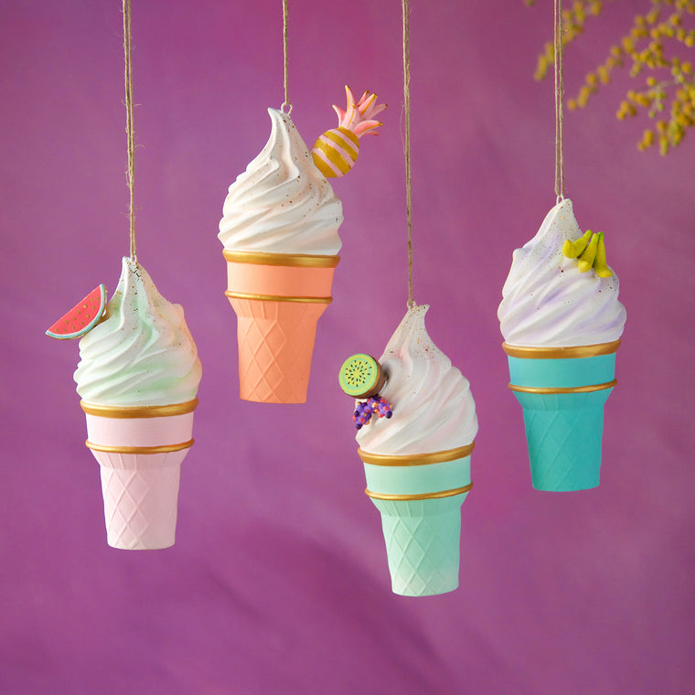 Fruity Ice Cream Cone Ornament (4 Assortment)