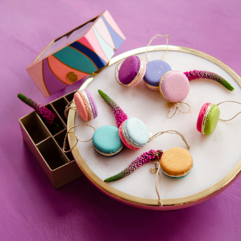 Box of Half & Half Macaron Ornament, Set of 8