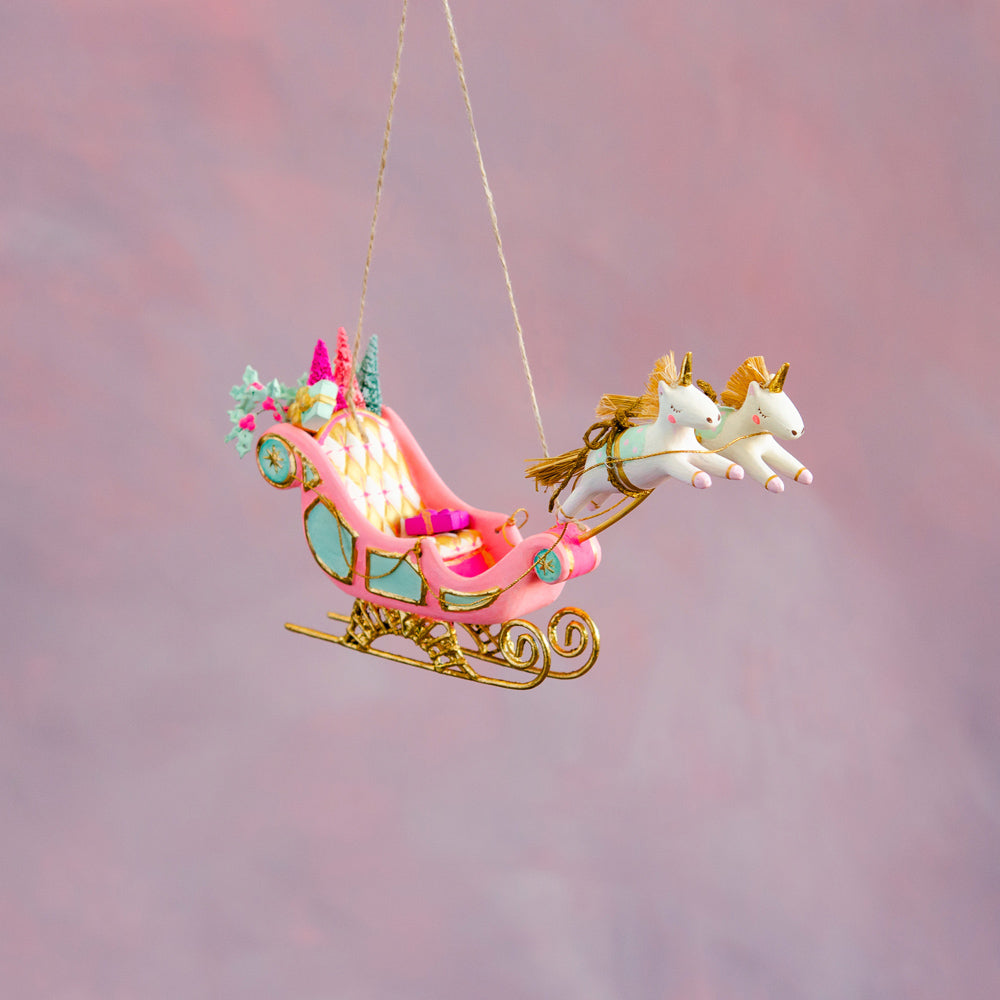 Parisian Sleigh & Unicorns Ornament