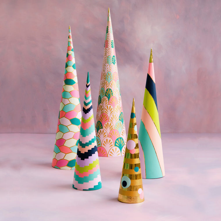 House of Glitter Cones Trees, Set of 5