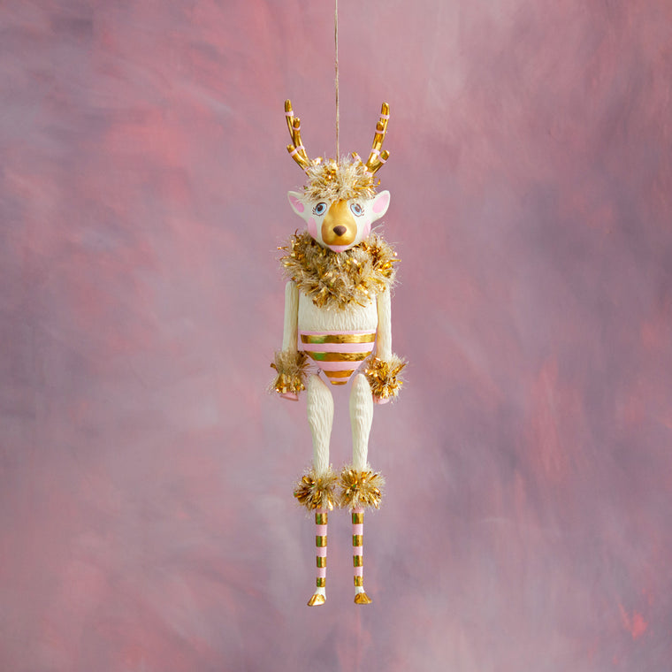 Gold & Blush La Renne the Reindeer Hanging Figure