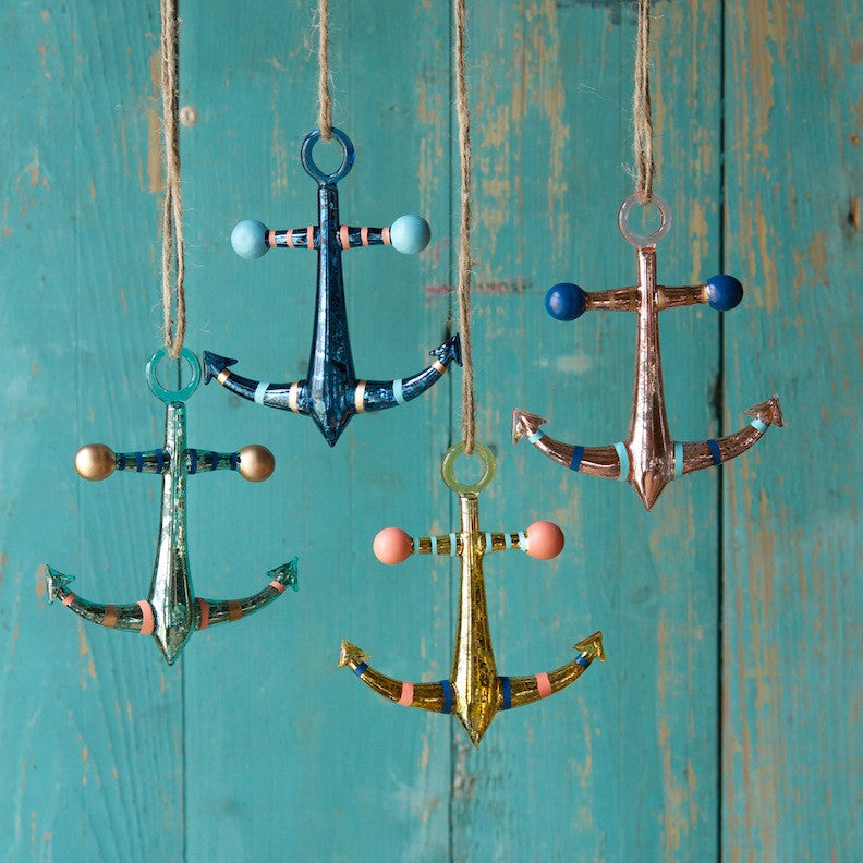 Striped Anchor Ornament
