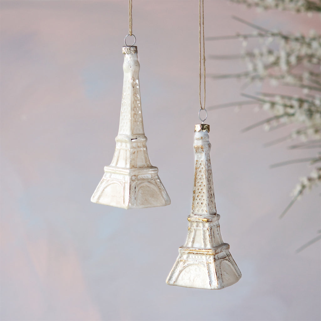 White Wash Eiffel Tower Ornament