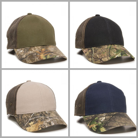 HPT-200 Brushed Twill Hat with Camo Visor