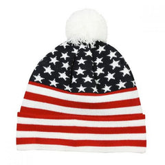 Red White and Blue Beanie with Pom
