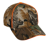 value advantage classic camo hat with blaze orange piping