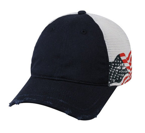 Mesh Back Screen Print USA Flag Cap - Baseball Hats -Sport-Smart.com