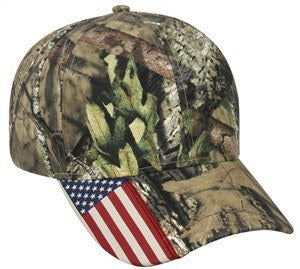 Camo Cap with Flag Visor - Hunting Camo Caps -Sport-Smart.com