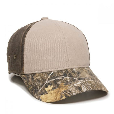 Brushed Twill Hat with Camo Visor - Hunting Camo Caps -Sport-Smart.com