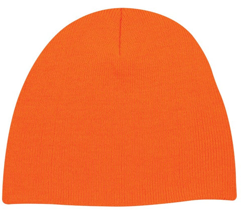 Basic Knit Blaze Orange Beanie - Knit Fleece Beanie Caps -Sport-Smart.com
