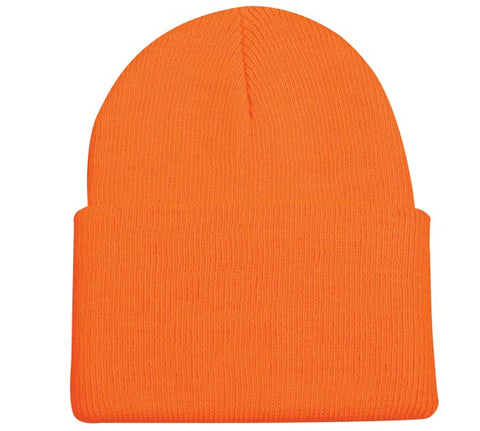 Blaze Orange Knit Beanie with Cuff - Knit Fleece Beanie Caps -Sport-Smart.com