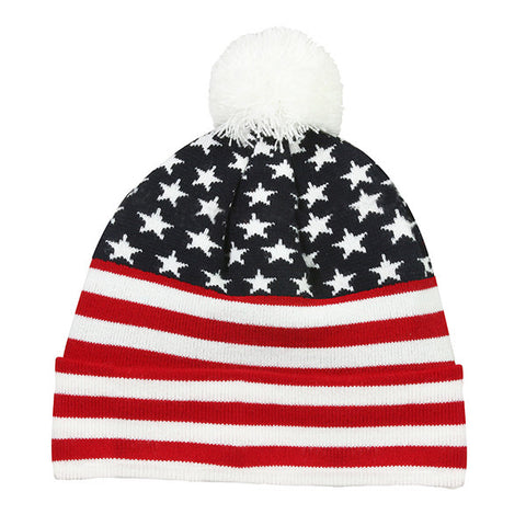 Red, White & Blue Beanie with Pom - Knit Fleece Beanie Caps -Sport-Smart.com