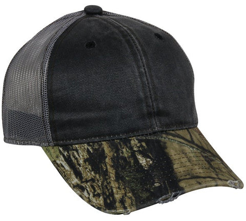 Weathered Cotton Mesh Back with Camo Cap