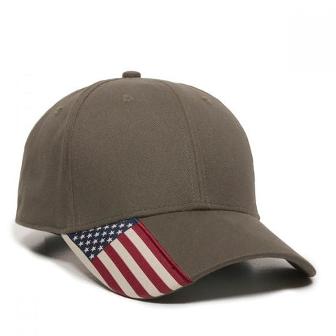 Brushed Twill Hat with Flag Visor - Baseball Hats -Sport-Smart.com