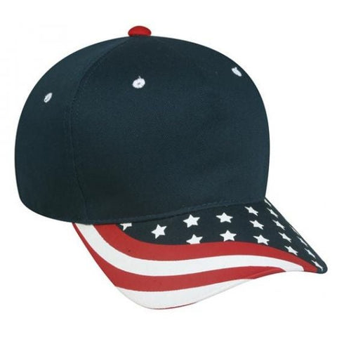 5 Panel Twill Cap with USA Flag Visor - Sport-Smart.com