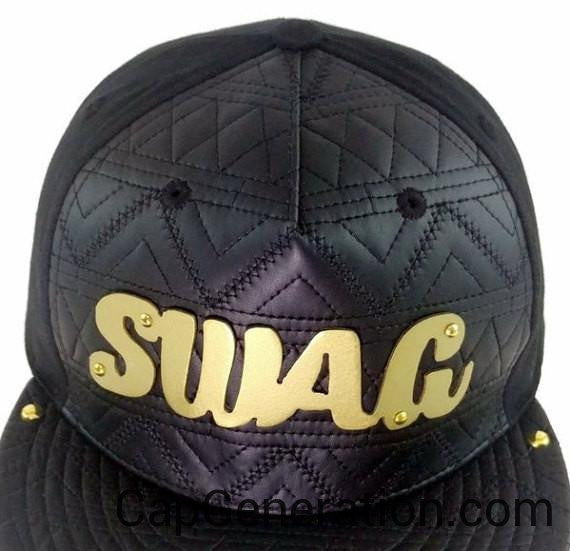 SWAG Gold (or Silver) Metal Plate Black Mixed Leather SnapBack Baseball Cap-Metal Snapback-Cap Generation