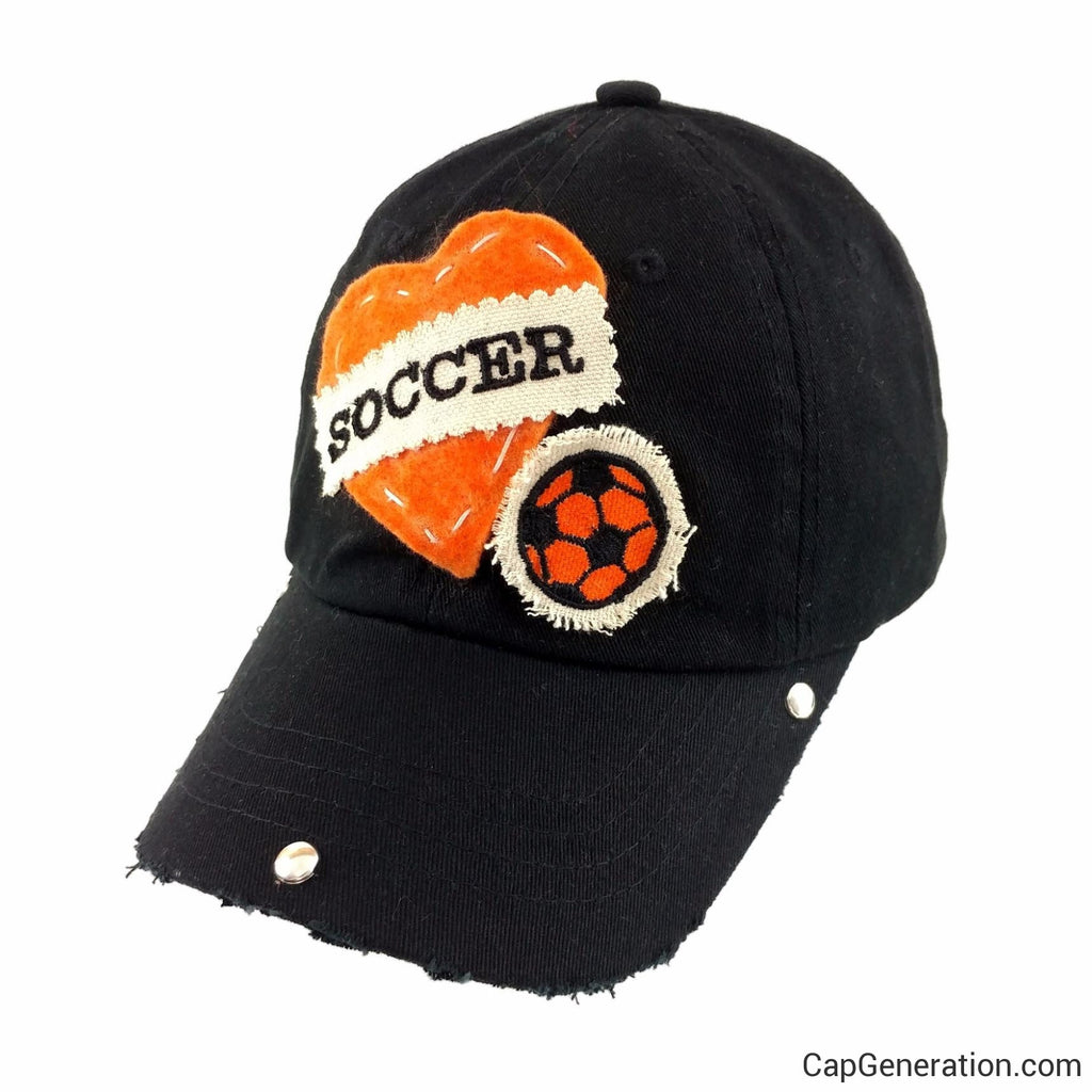 Kids Orange SOCCER HEART Black Distressed Baseball Cap-Kids-Cap Generation