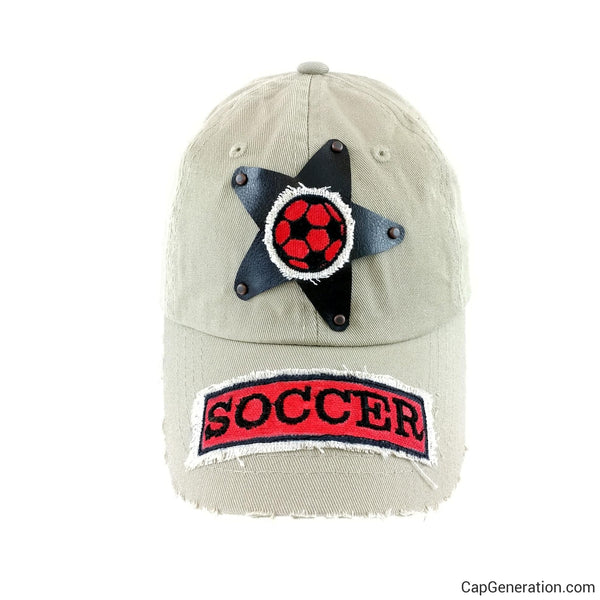 Kids SOCCER BROWN STAR Beige Distressed Baseball Cap-Kids-Cap Generation