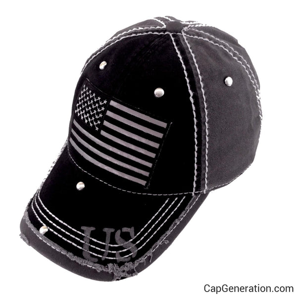 REFLECTIVE US FLAG Black and Gray Distressed Baseball Cap-Vintage-Cap Generation