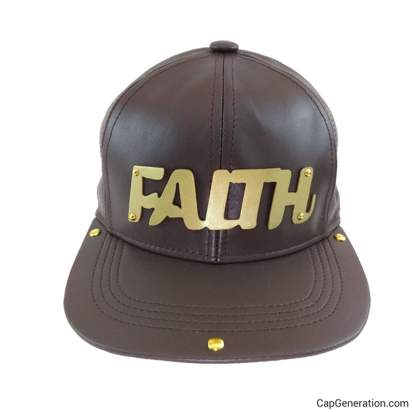 FAITH Gold (or Silver) Metal Plate Brown Leather SnapBack Baseball Cap-Metal Snapback-Cap Generation