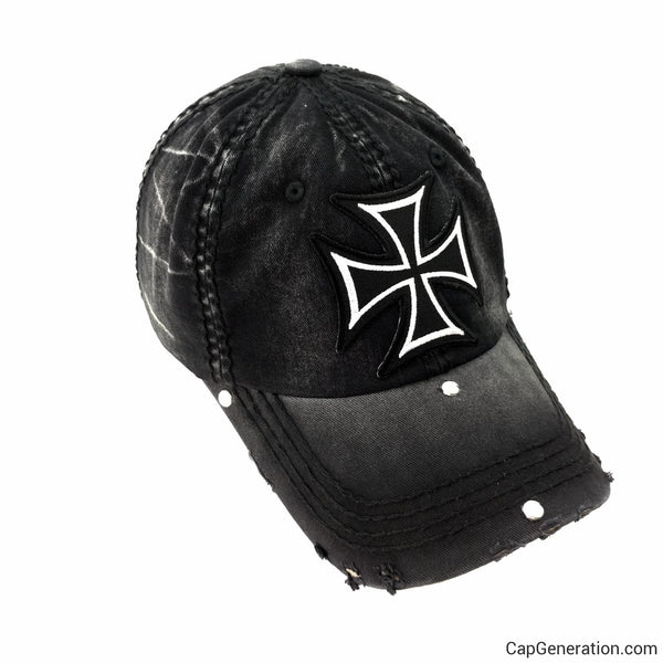 MALTESE CROSS All Black Distressed Baseball Cap-Vintage-Cap Generation