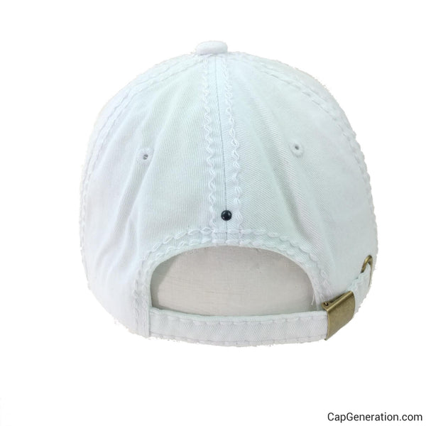 MALTESE CROSS All White Denim Distressed Baseball Cap-Vintage-Cap Generation