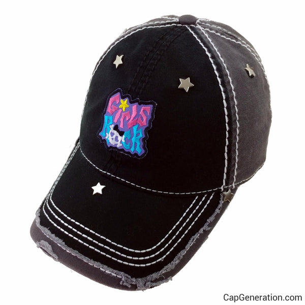 GIRLS ROCK Star Metal Black and Gray Distressed Baseball Cap-Vintage-Cap Generation