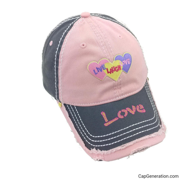 3 HEARTS Pink and Gray Distressed Baseball Cap-Vintage-Cap Generation