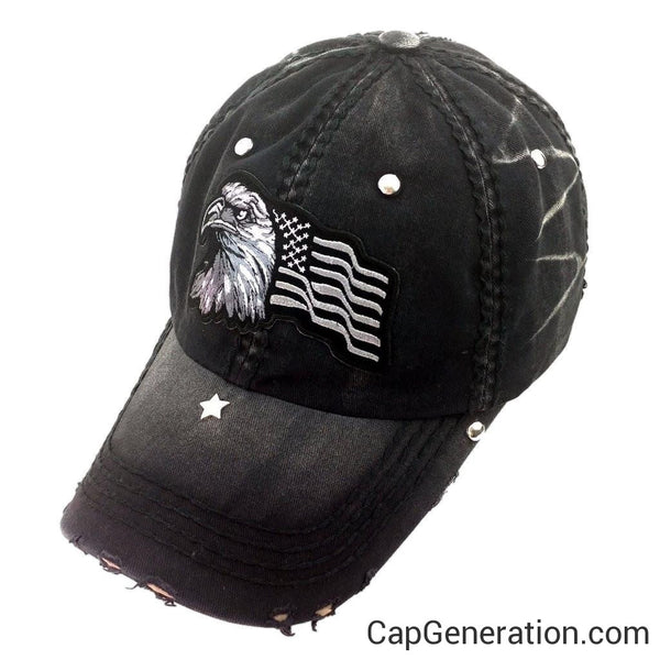 EAGLE FLAG All Black Distressed Baseball Cap-Vintage-Cap Generation