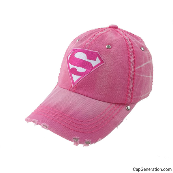 SUPER WOMAN Pink Denim Distressed Baseball Cap-Vintage-Cap Generation